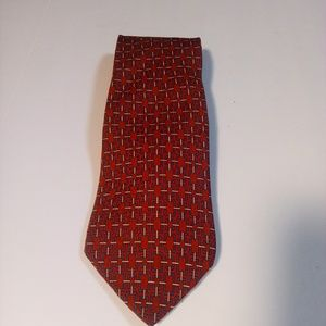 Tommy Hilfiger Red Blue White Men's Tie 100% Silk